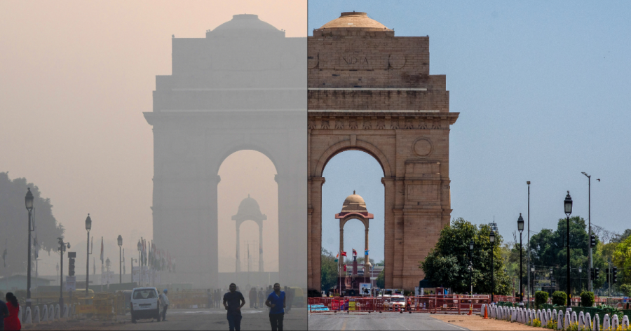 The India War Gate Memorial in New Delhi, India from October 17, 2019 (left) and then April 8, 2020. Source: google images